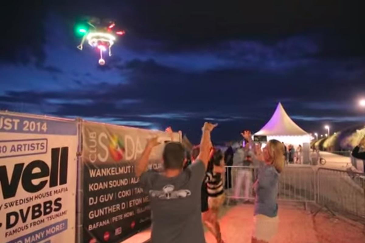 The Spotify PartyDrone accompanied festival attendees, blasting their favorite tracks as the entered the event