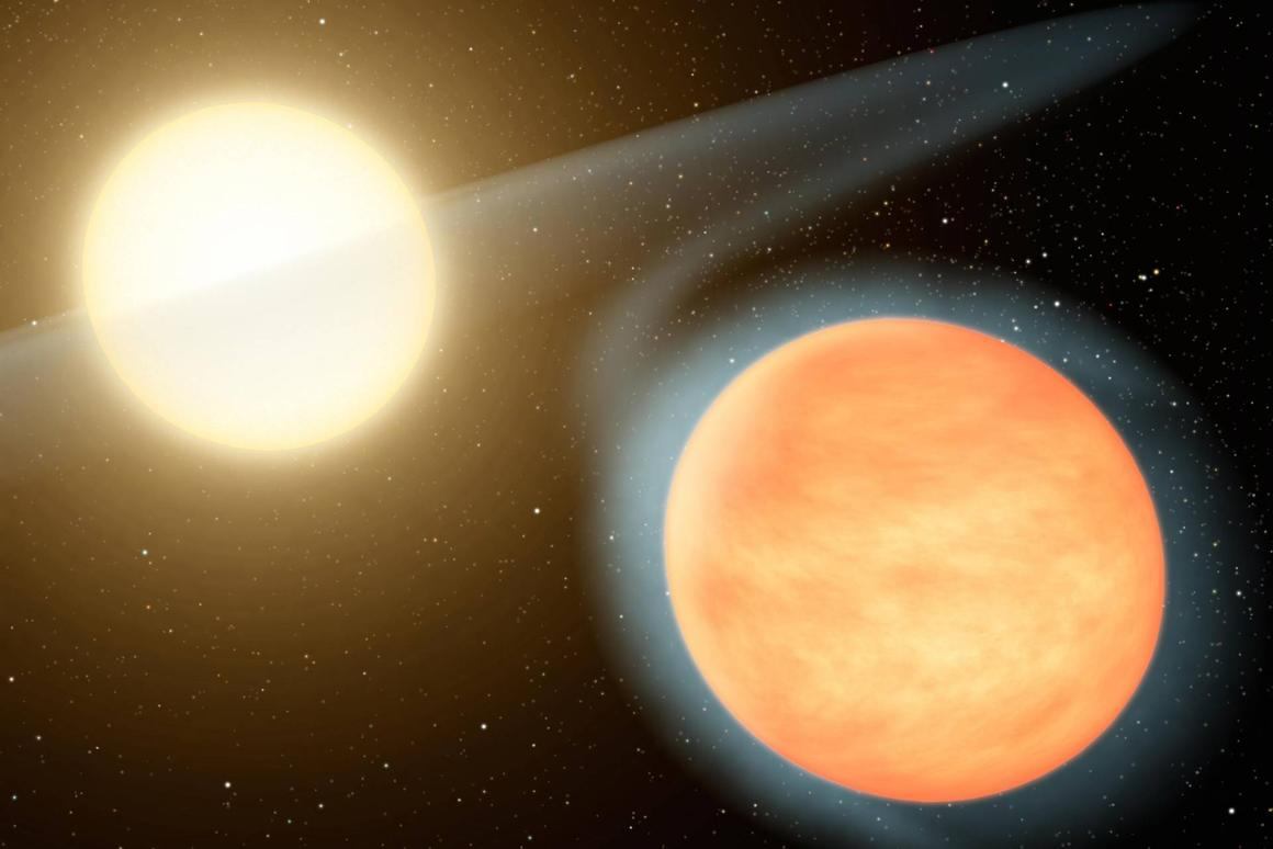 Artist's concept of WASP-12b spiraling into its sun
