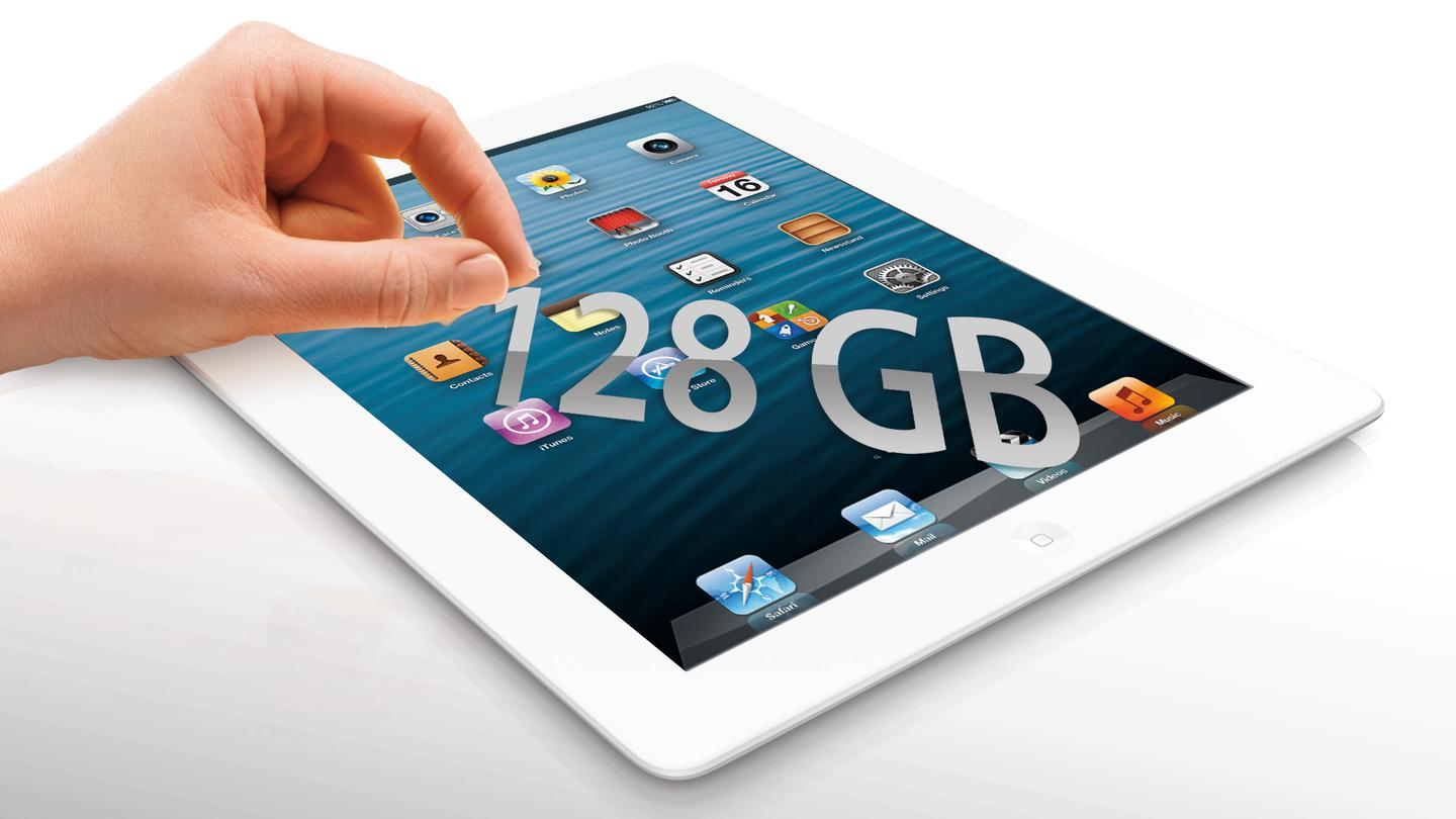 Apple added a 128 GB model to the 4th-generation iPad