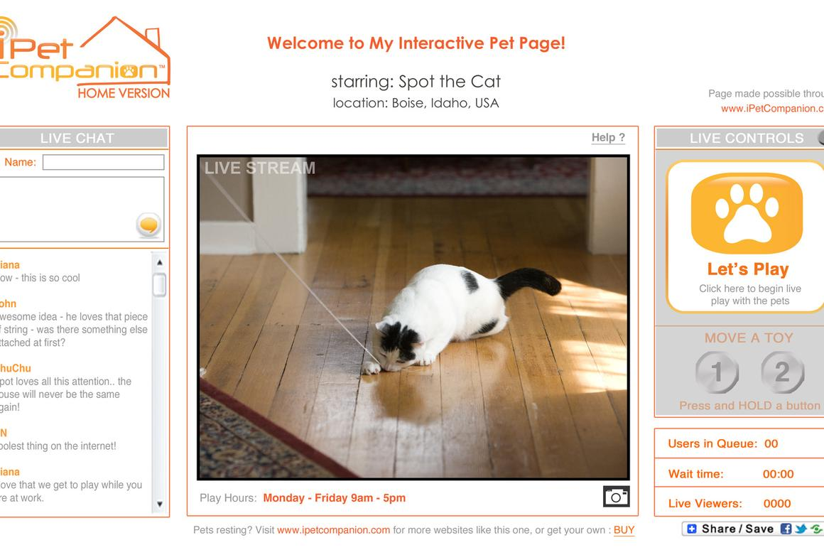 iPet Companion Home Version allows people to remotely play with their pets in real time, via the internet