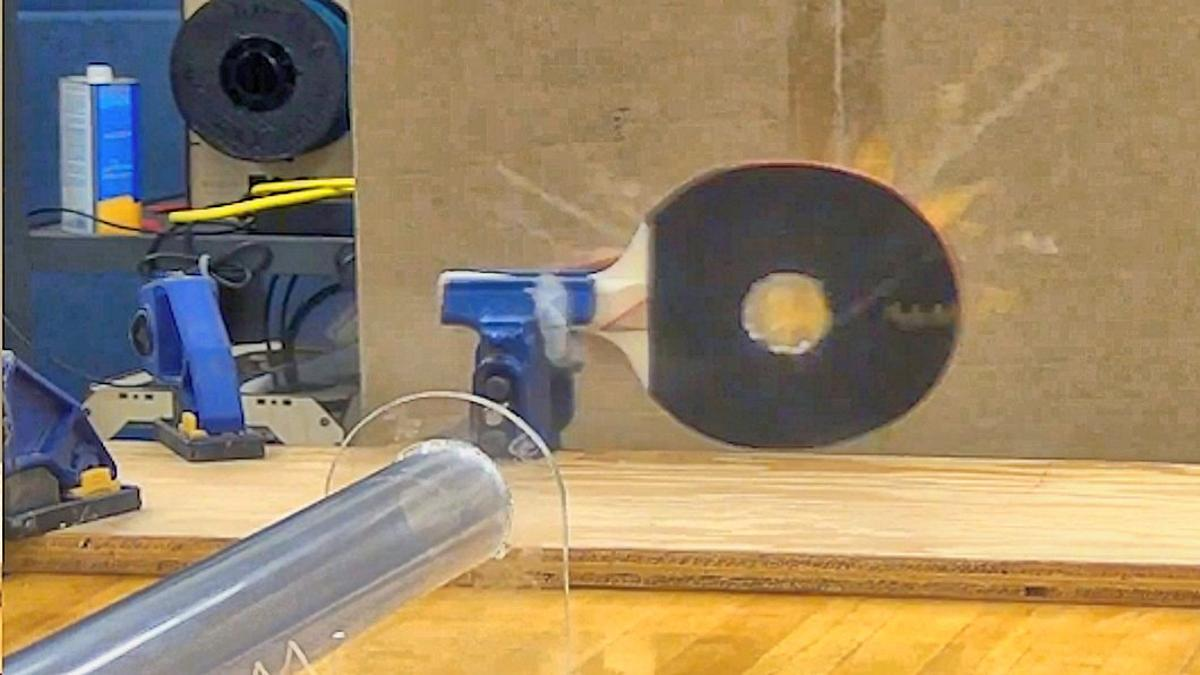When a paddle tries to return a supersonic ping-pong ball -- the paddle loses! (Photo: Mark French)