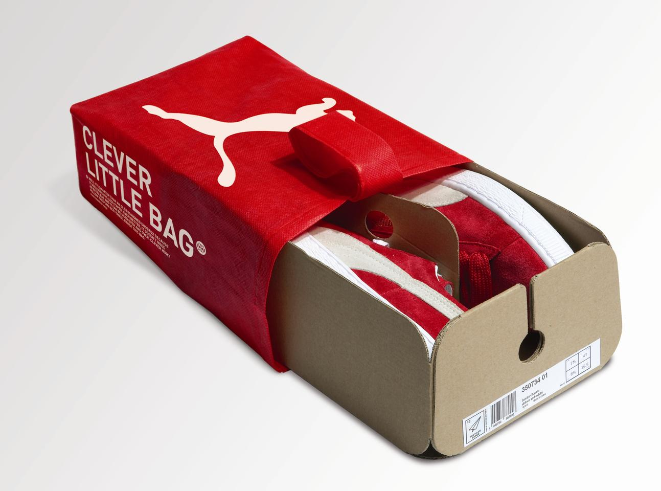 PUMA is getting rid of shoeboxes and replacing them with its Clever Little Bag, a single folded sheet of cardboard in a resuable, recyclable PET bag