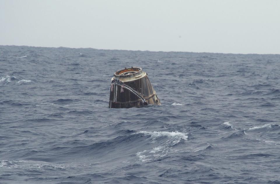 First picture of Dragon in the ocean as it awaits recovery