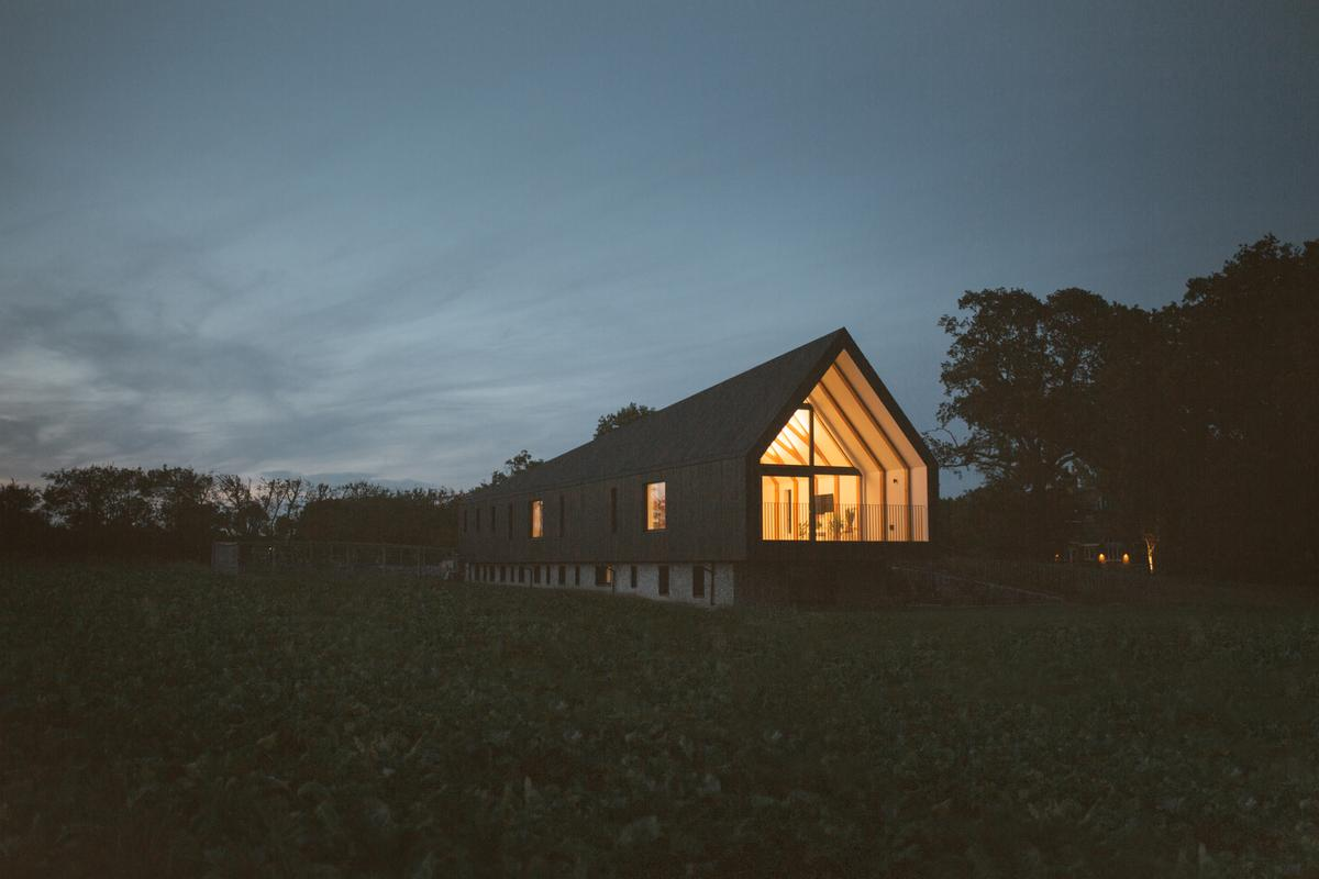 Black Barn is a modern barnhouse that runs fully off-the-grid with solar power and a bio-diesel generator
