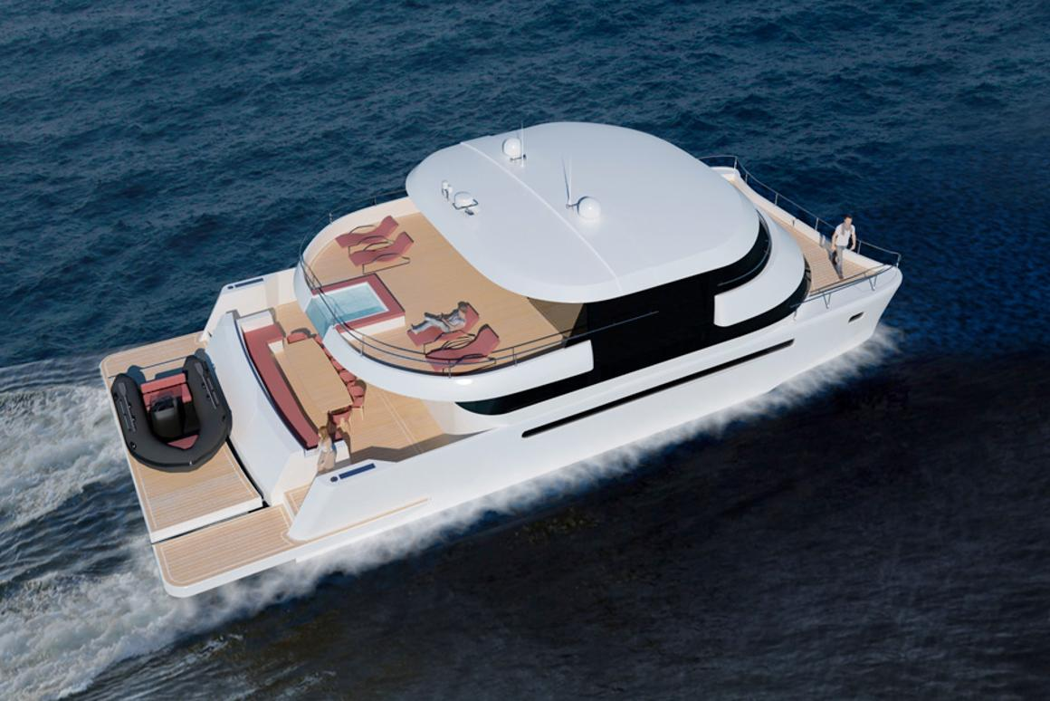 The Flash Cat 67SC design incorporates an open, spacious indoor/outdoor flybridge