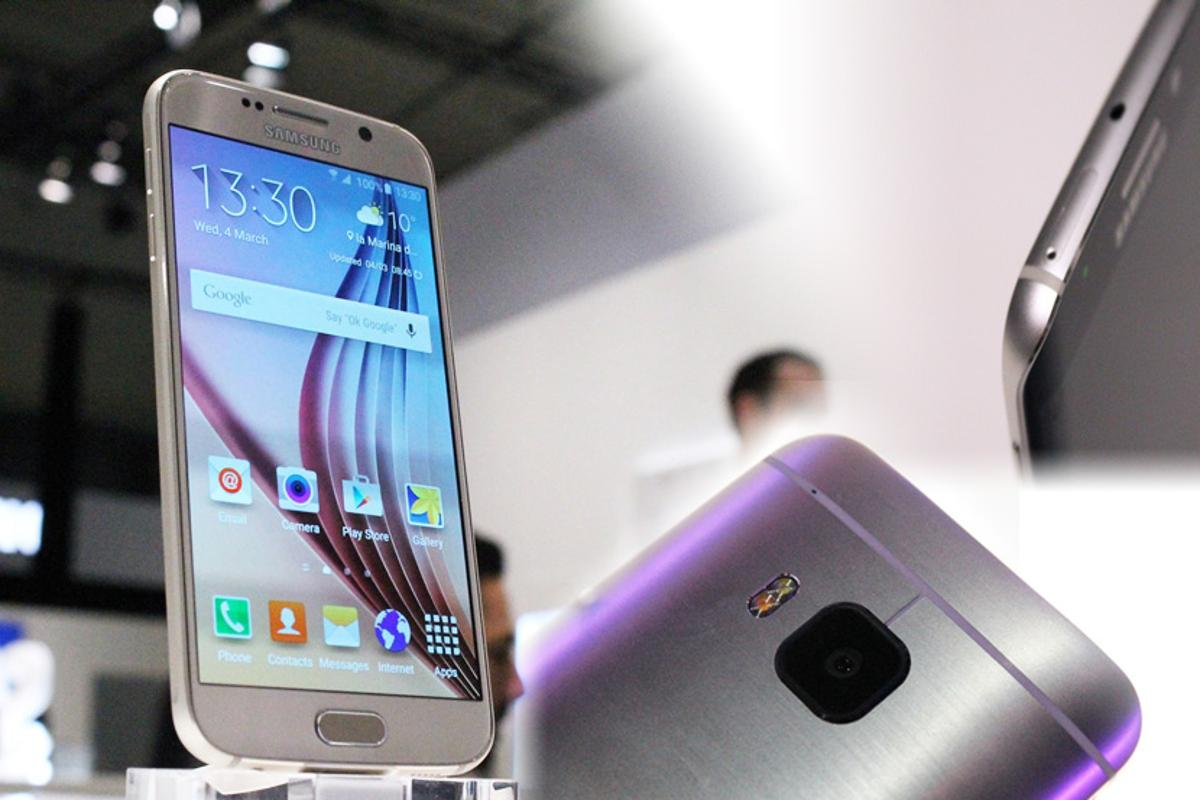 Gizmag gives you a look at the three big smartphone flagships announced at Mobile World Congress 2015, the Galaxy S6 (left), Galaxy S6 edge (top right) and HTC One M9 (Photo: Gizmag.com)