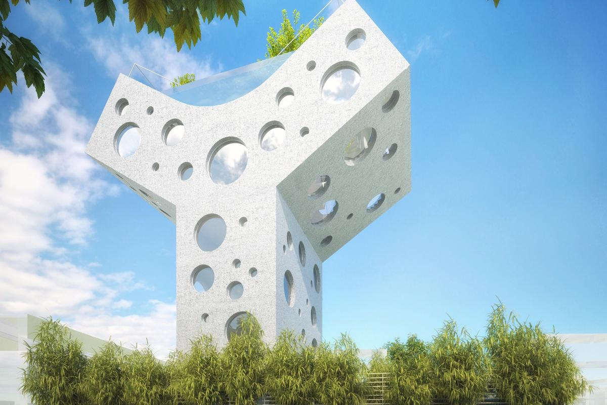 The shape of the Y House is aimed at raising the top of it above those around it for use as a communal space