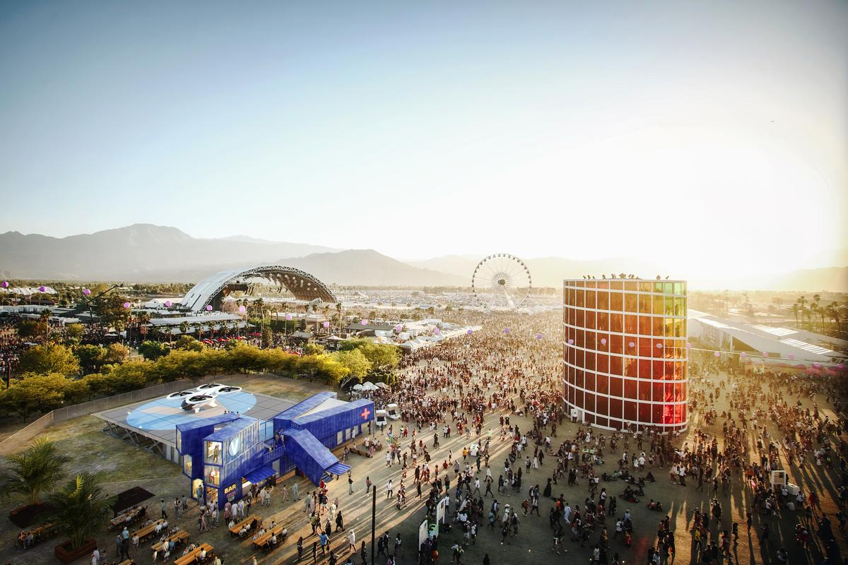 Airbus UAM imagines a temporary vertiport built using shipping containers being installed at the Coachella Festival