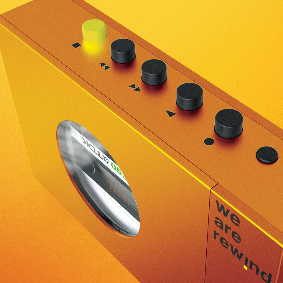 The We Are Rewind player is available in color choices of orange, blue or gray – but unfortunately not Walkman-yellow