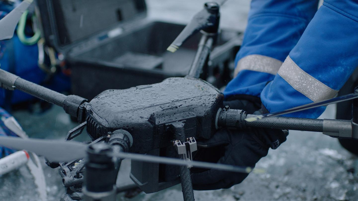 DJI Matrice 200 series isIP47 waterproof rated for flying in wet weather