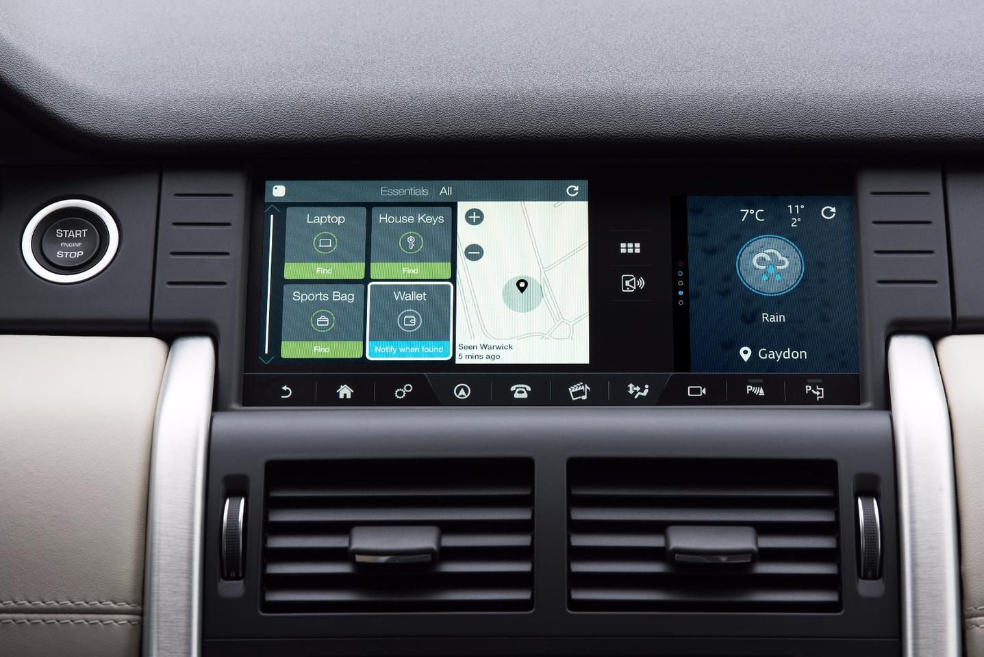 Land Rover has teamed with Tile to create a system that tracks your items from within the car