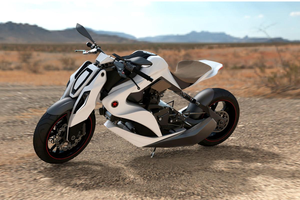 Mean machine ... the Izh 2012 concept motorbike, light on materials, heavy on safety
