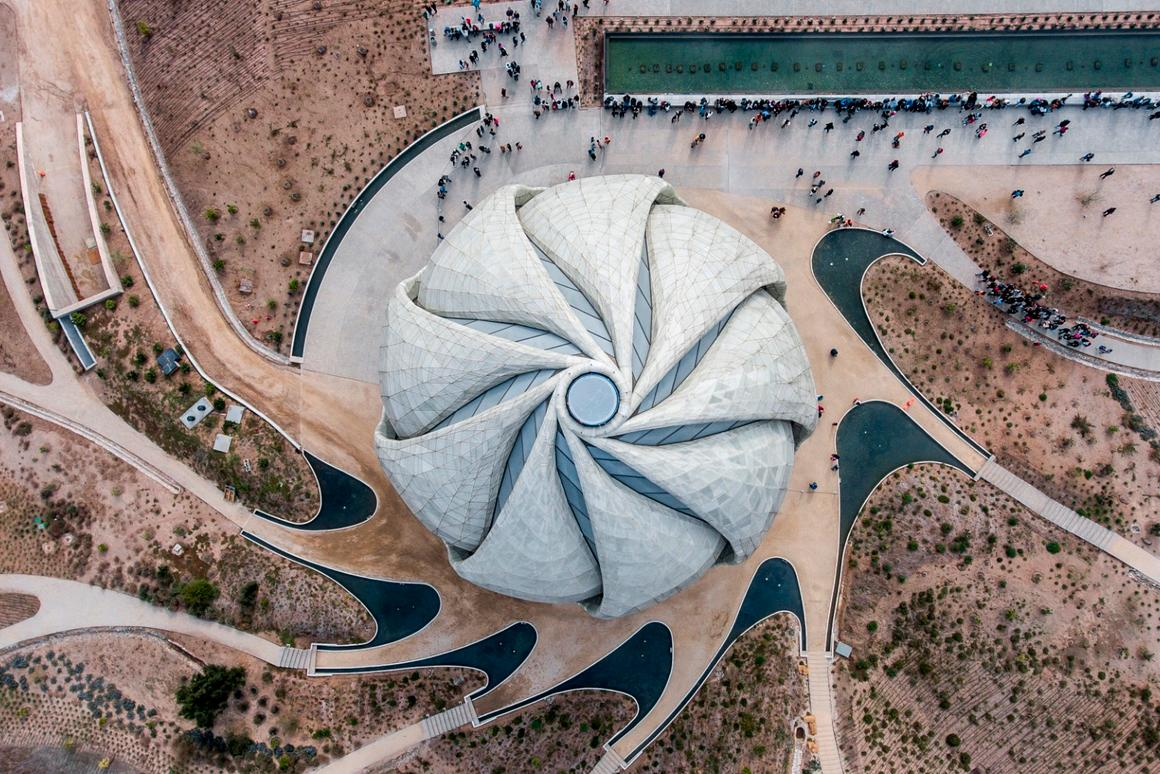 Aerial view of the Bahá'í Temple of South America and grounds