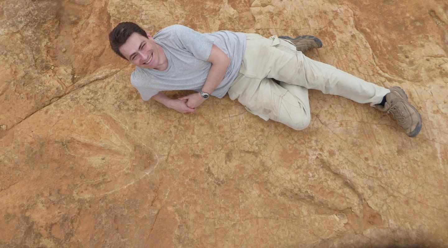These dinosaur footprints, measuring 57 cm (22 in) long and 50 cm (20 in) wide, belong to the largest carnivore to ever stalk Africa