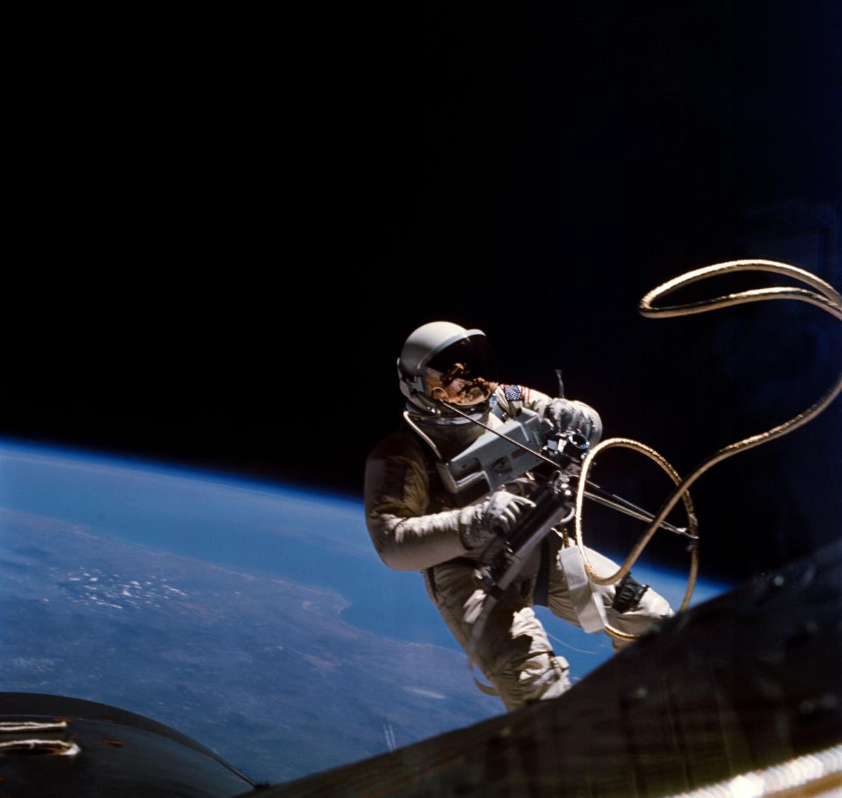 Ed White during the first-ever American spacewalk (Photo: NASA James McDivitt)