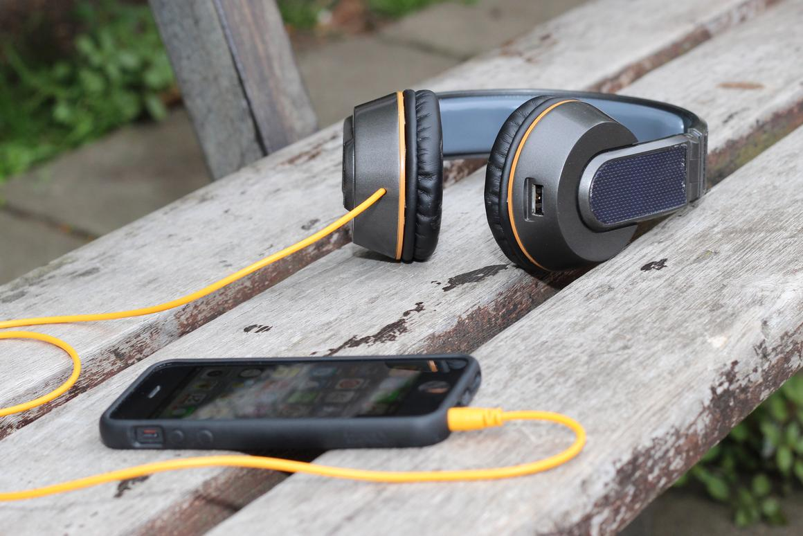 The OnBeat headphones feature photovoltaic cells on the headband and hinges to charge built-in batteries