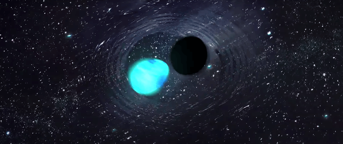 Astronomers have detected gravitational waves emitted by a black hole swallowing a neutron star