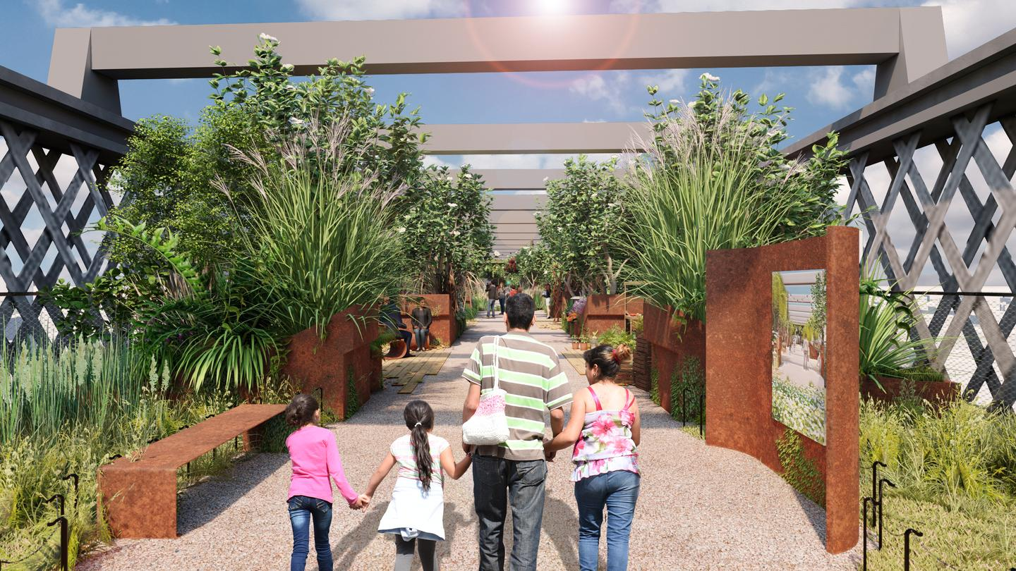 The Castlefield Viaduct raised park will include seating areas and lots of greenery