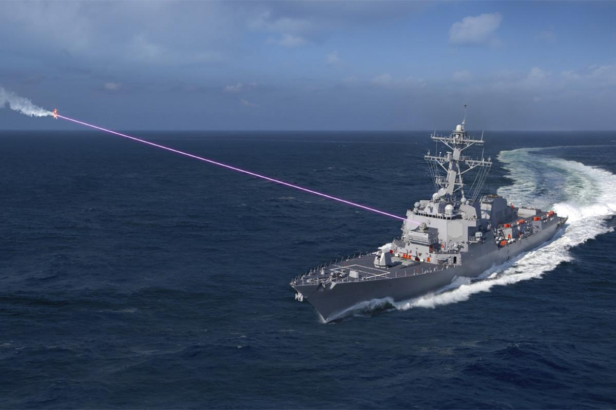 Artist's concept of a laser weapon in action - unlike more destructive laser weapons such as the ATHENA system being developed by Lockheed Martin, the ODIN dazzler laser is designed to disable or destroy delicate optical sensors on drones