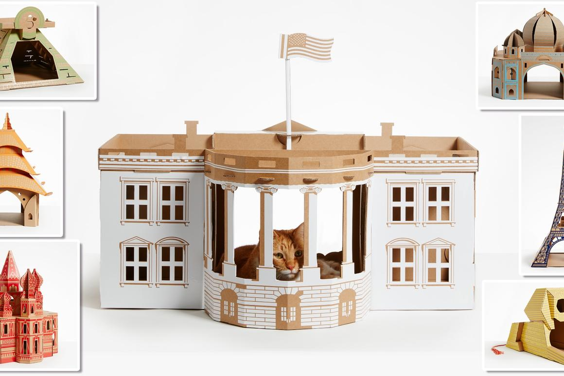 Cardboard playhouses puts pampered pets in architectural