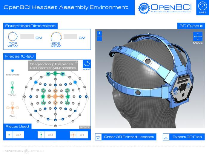 The OpenBCI headset design interface allows for inputting head dimensions and changing which electrode positions to incorporate