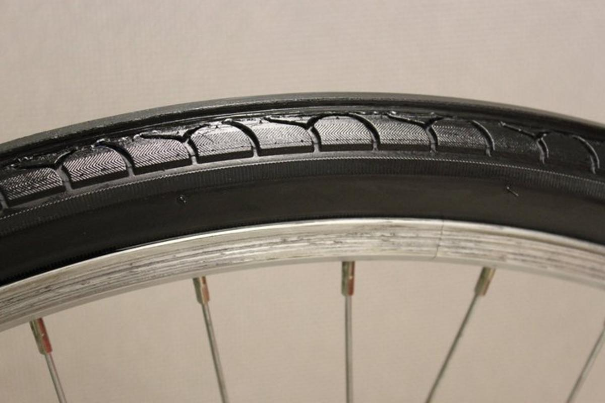The PumpTire is a self-inflating bicycle tire, that uses the compressive effect of the tire meeting the ground to force air into the inner tube