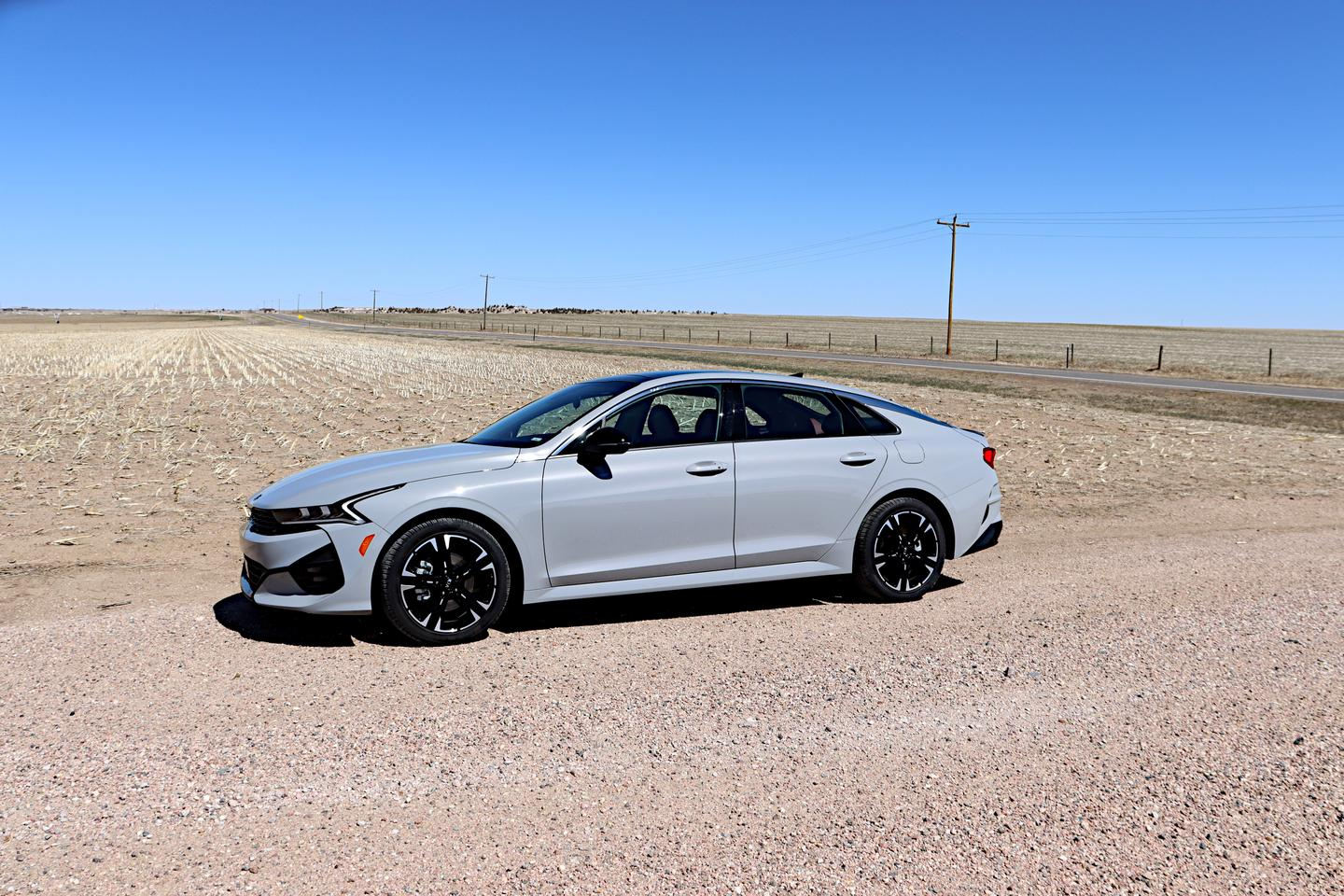 The 2021 Kia K5 GT-Line has several color options, including this beautiful slate