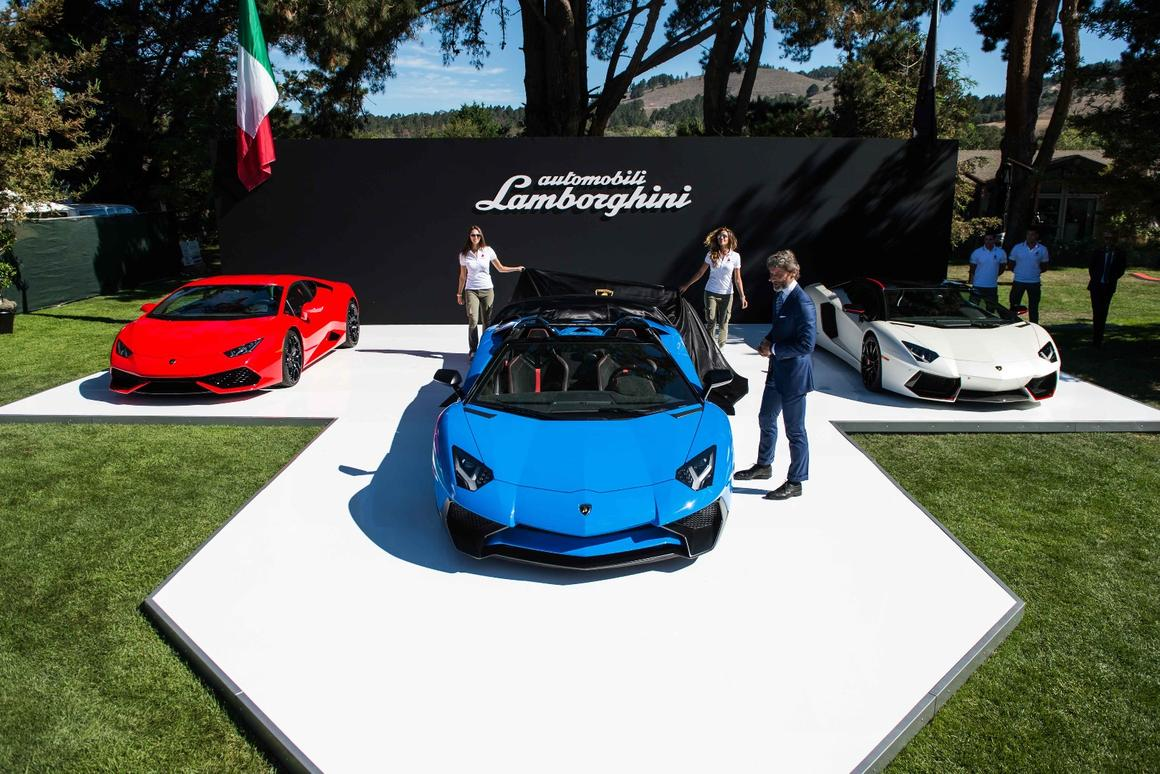 Lamborghini chief Stephan Winkelmann introduces the Aventador LP 750-4 Superveloce Roadster at Pebble Beach