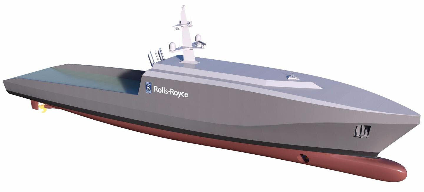 The hull of the Rolls-Royce autonomous naval vessel concept