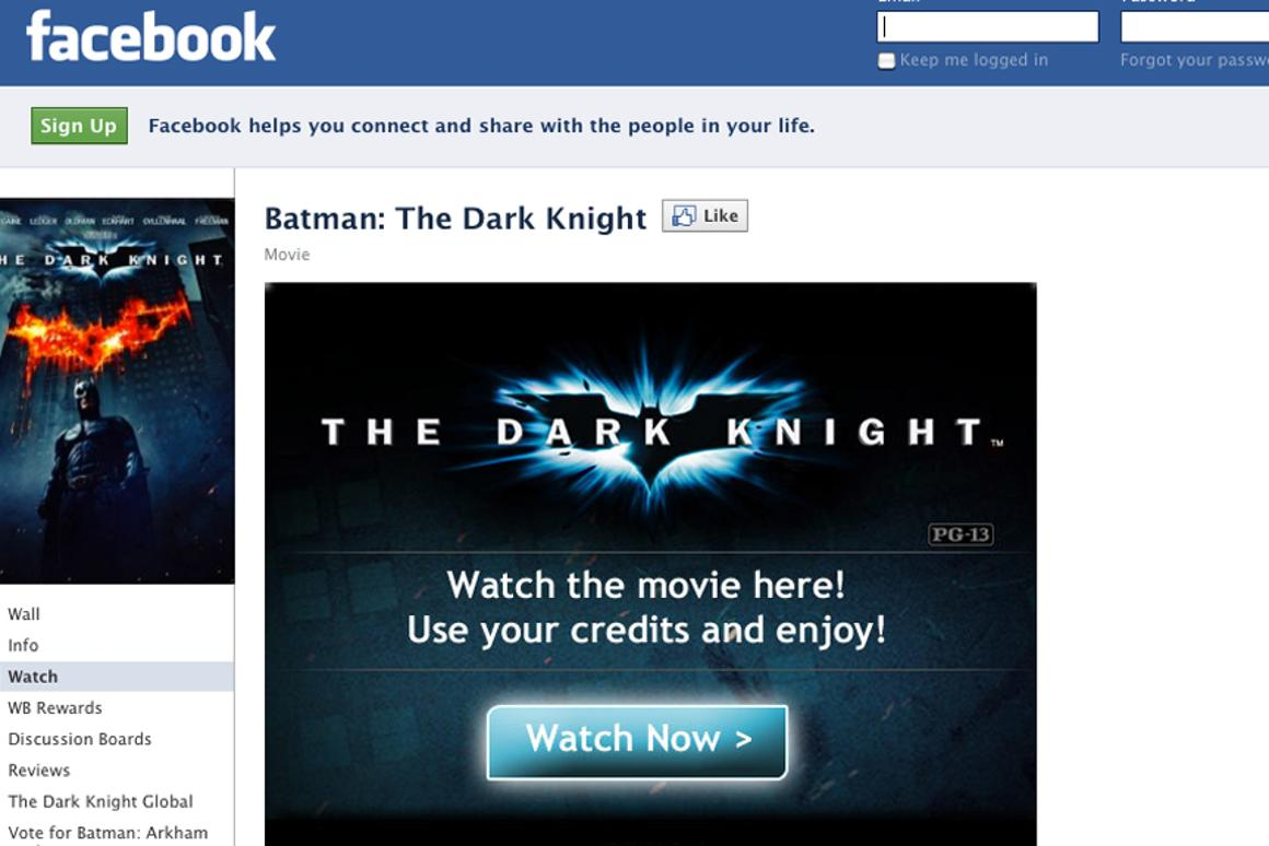 Warner Bros. is the first Hollywood studio to offer movies directly through Facebook