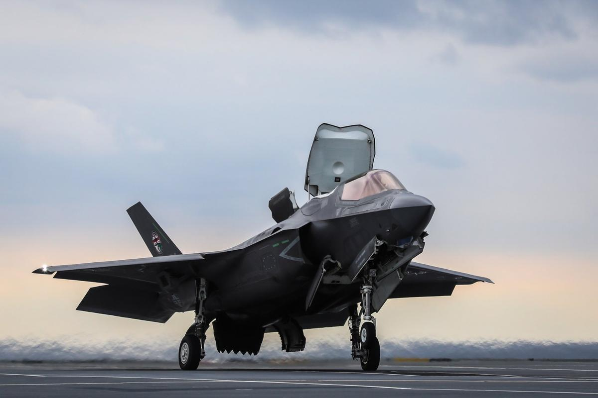 A Royal Navy F-35B Lightning II makes the world's first SRVL