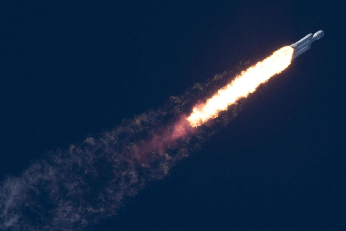 Falcon Heavy in flight during an earlier mission