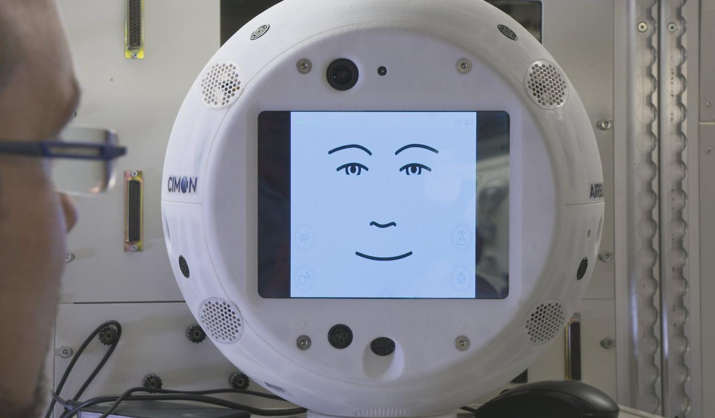 CIMON has an 8-inch screen to the front, which was chosen because it was about the right size to display an animated face
