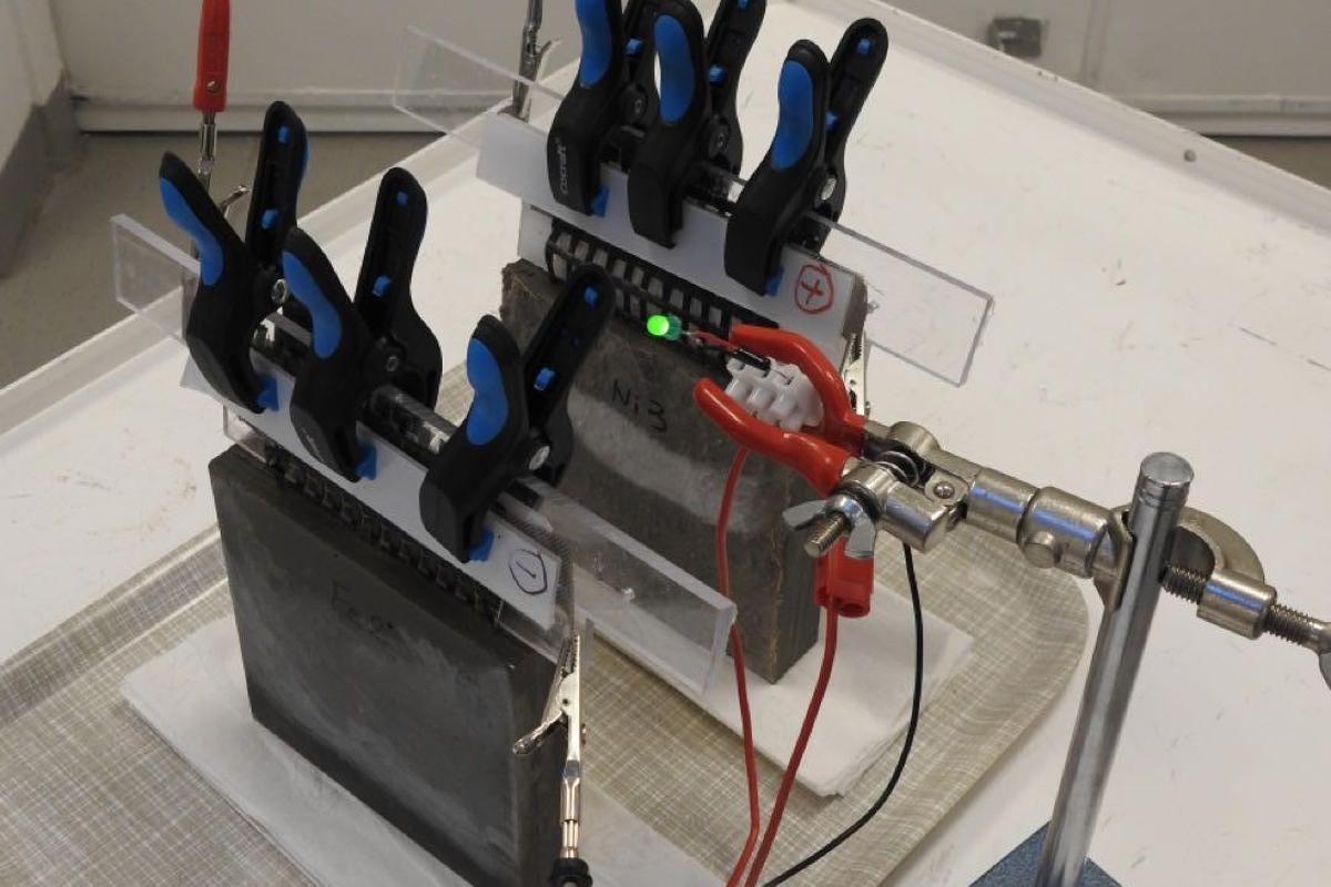 A prototype of the concrete battery developed at Chalmers University of Technology