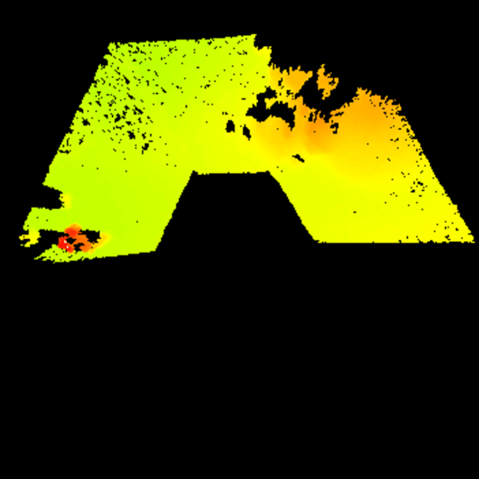 A digital elevation map of ExoTeR's forward terrain, produced autonomously aboard the rover using input from its stereo mast-mounted navigation cameras