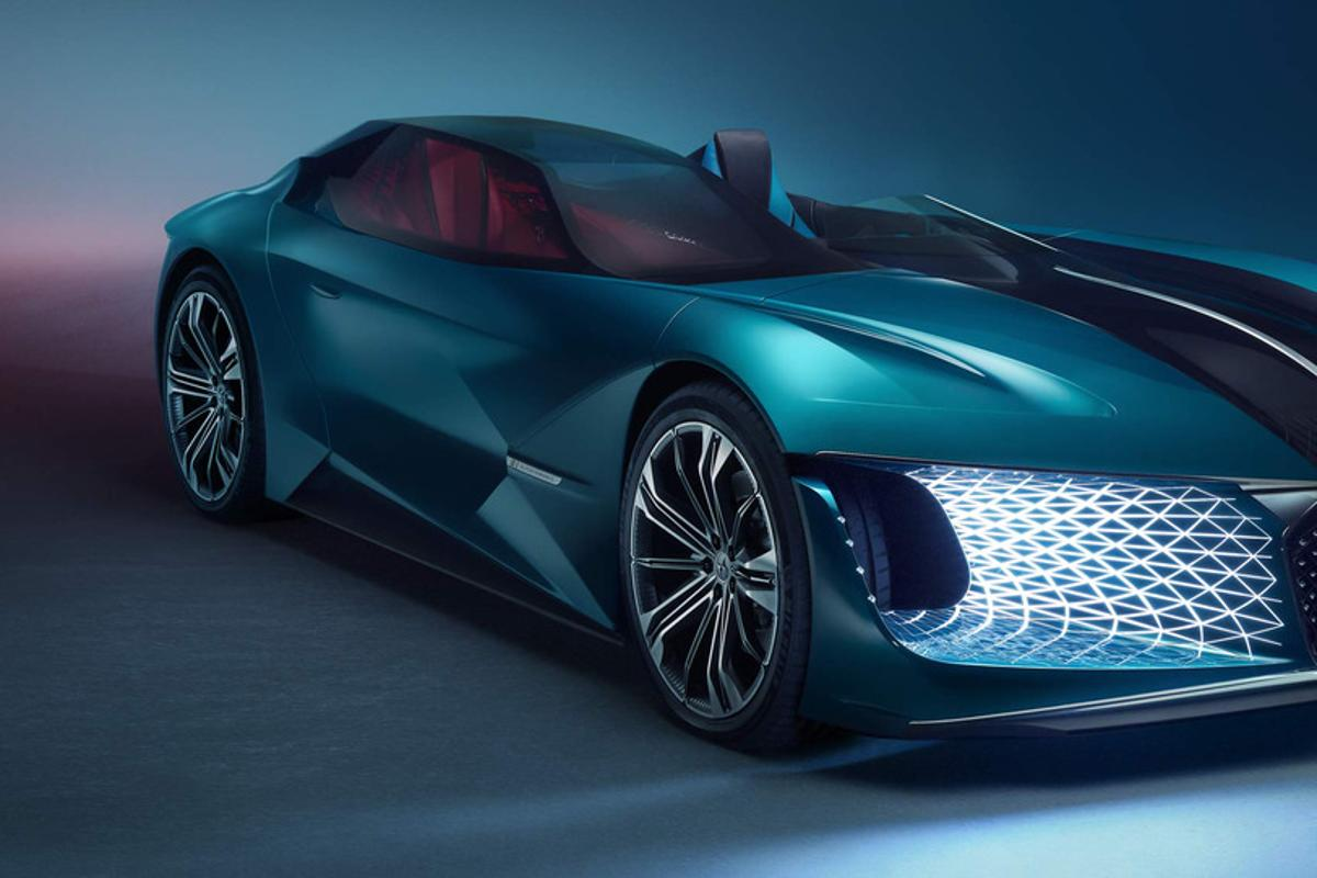 The DS X E-Tense is a bizarre, asymmetric, avant garde electric hypercar concept that puts the driver out in the wind, but keeps the passengers enclosed