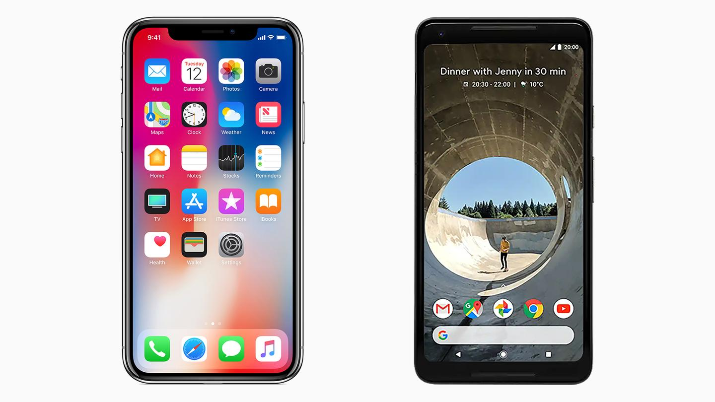 New models of Apple's iPhone (left) and Google's Pixel (right) are expected to be announced later this year