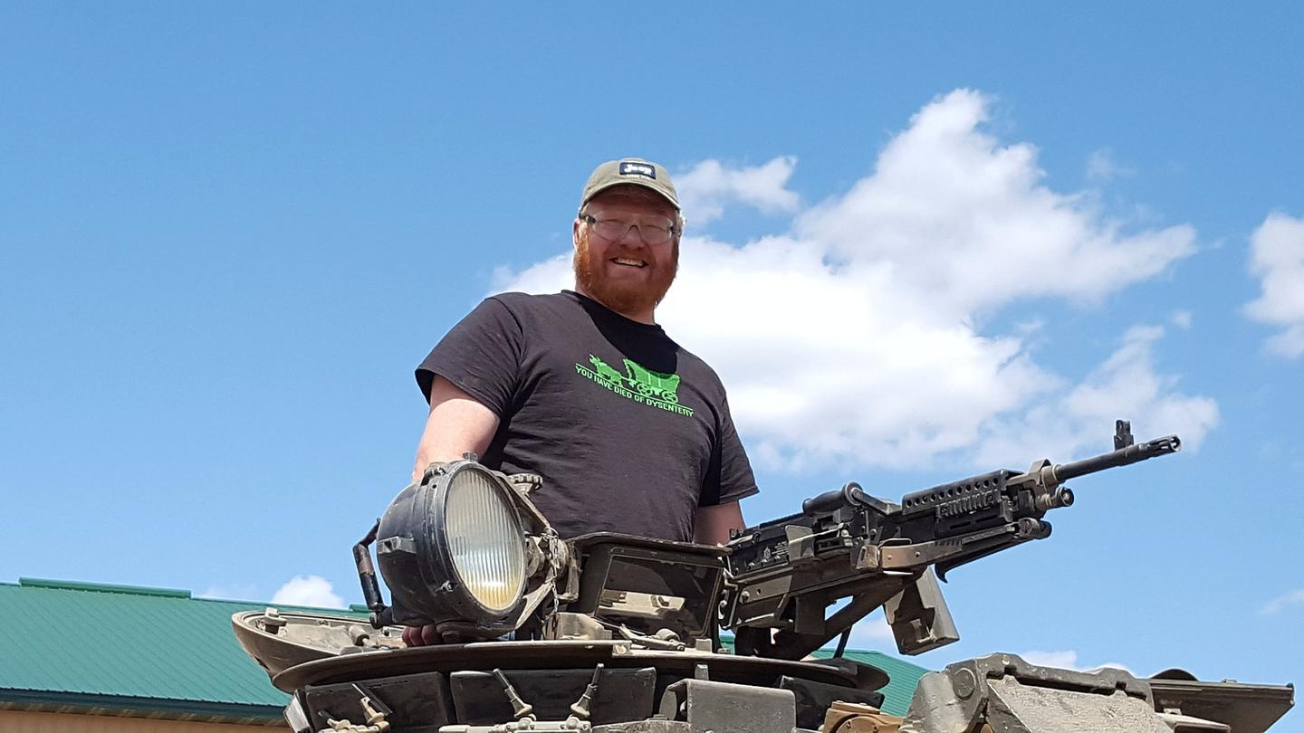 The authorlooking smug atop a Chieftain FV4201