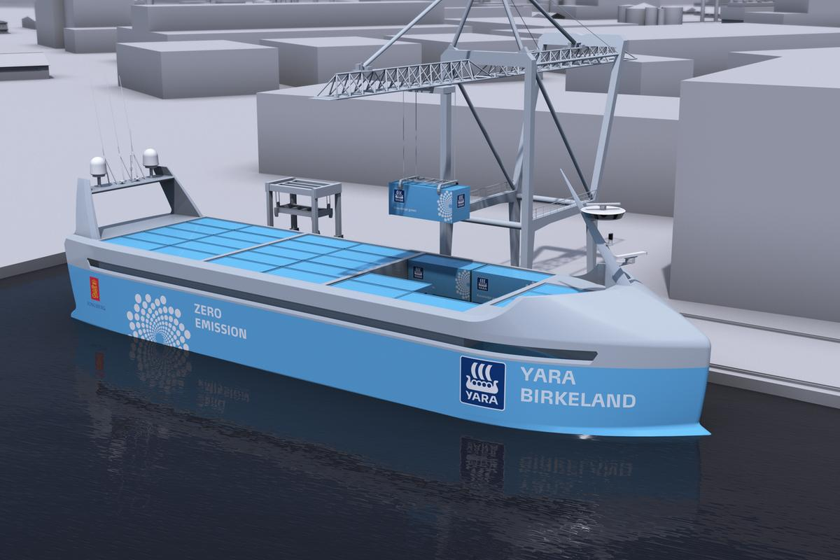 The Yara Birkeland is set to be the world's first all-electric, autonomous shipping container vessel when it launches in late 2018