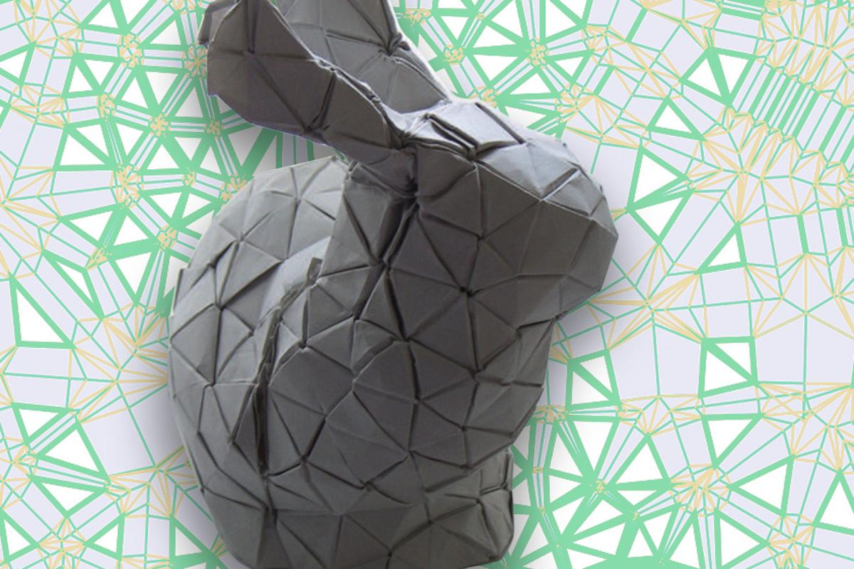 This bunny is just one example of the complex origamishapes the new algorithm can produce with the minimum number of seams