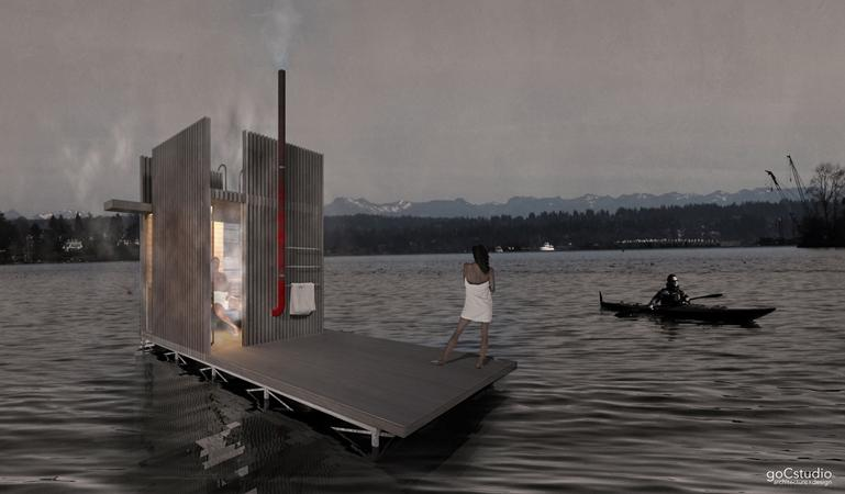 Designs have been revised for a floating sauna that is planned for Seattle