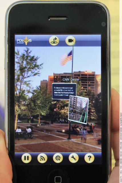 Image of the CNN Center shown in the Kamra AR mobile browser