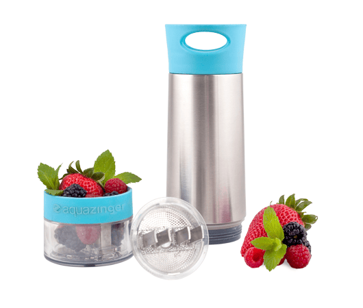 The individual components of Aqua Zinger laid out, including the berry and herb ingredients