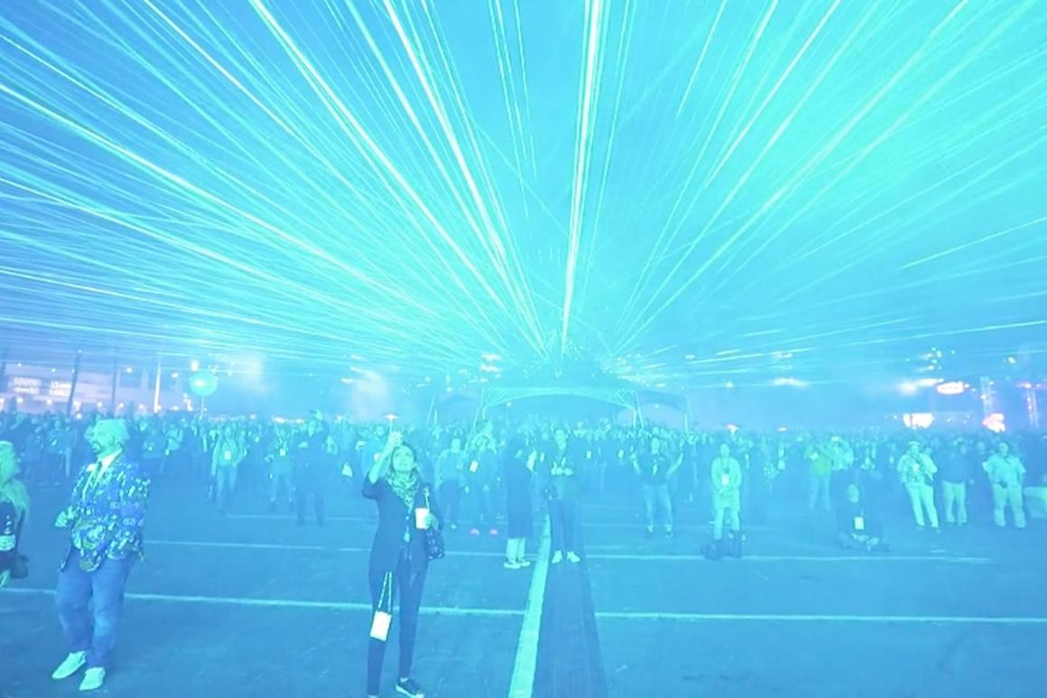 The closing sequence of the show incorporated 314 lasers