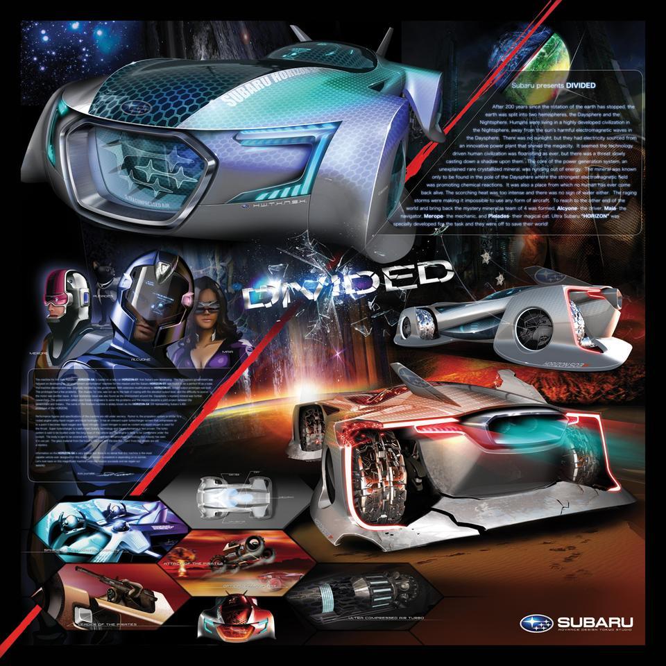 Divided poster featuring the Subaru HORIZON (Image: Subaru Design Tokyo Studio)