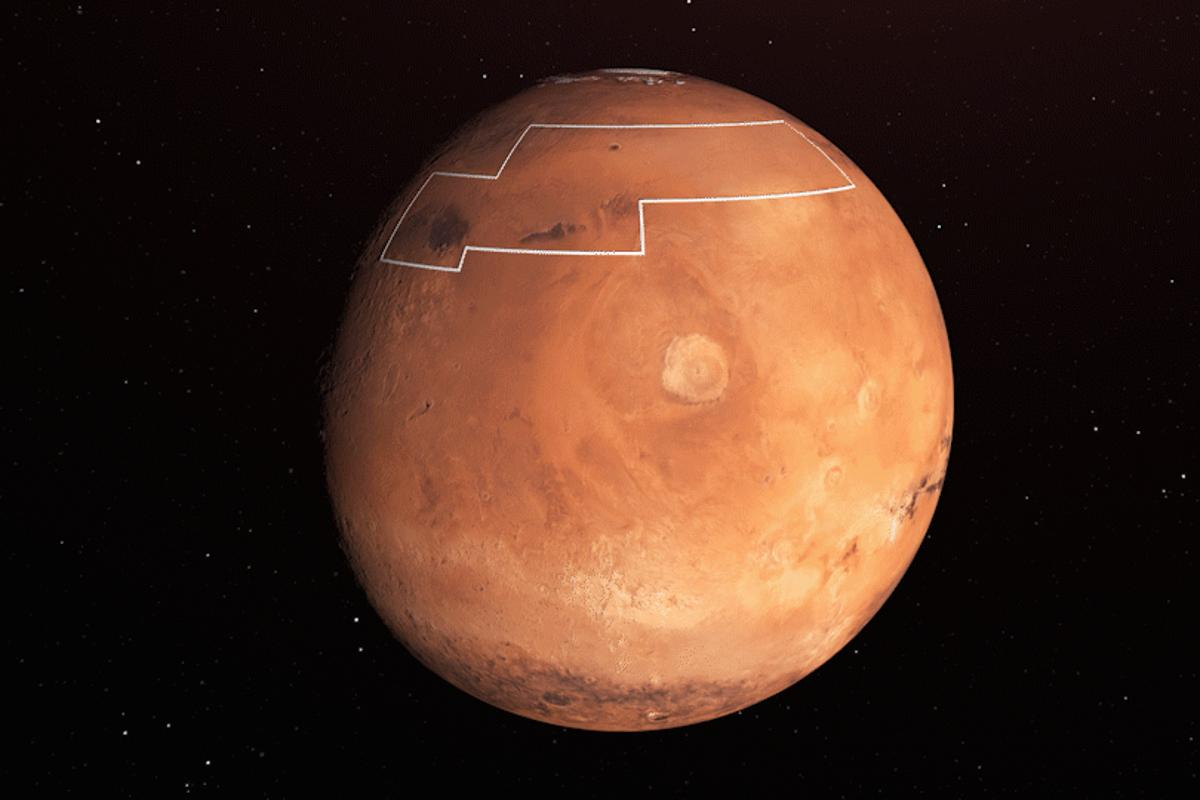 The annotated area of Mars in this illustration holds near-surface water ice that would be easily accessible for astronauts to access
