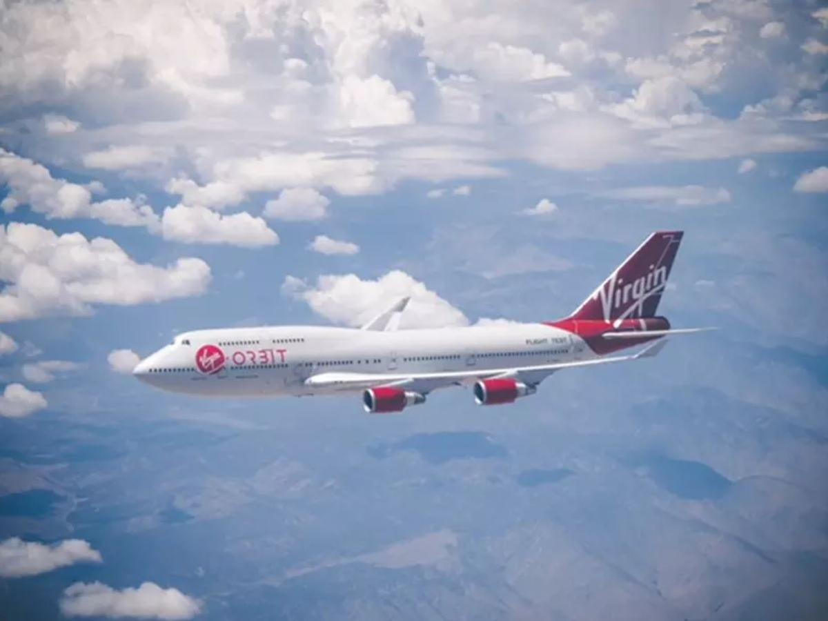 Cosmic Girl, the former Virgin Atlantic Boeing 747-400 aircraft that is now the flagship of Virgin Orbit
