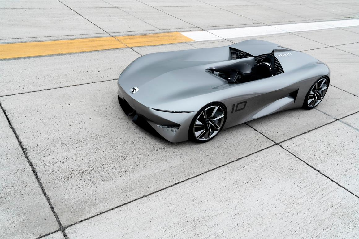 The Infiniti Concept 10 is anopen top, single seat electric speedster