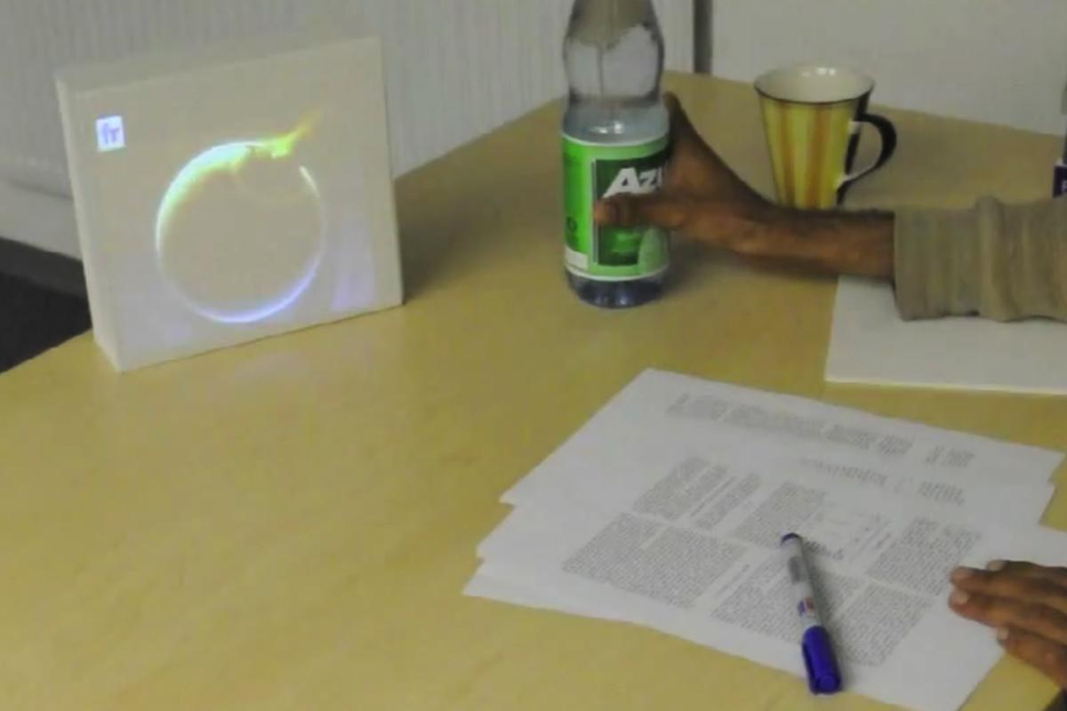 LightBeam allows physical objects, such as a water bottle, to act as a control for the pico projector