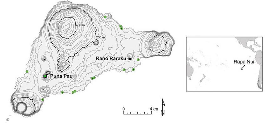 A map of Easter Island, including the locations of pukao (green spots) and the two quarries – Puna Pau, where the red scoria for the hats came from, and Rano Raraku, where the volcanic tuff for the statues was sourced